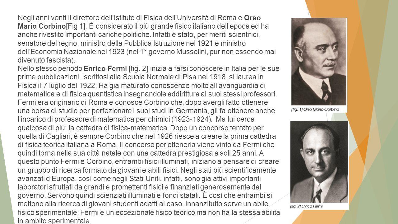 Negli anni venti il direttore dell'Istituto di Fisica dell'Università di Roma è Orso Mario Corbino[Fig 1].
